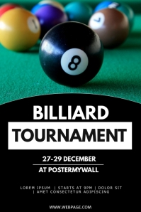 Billiard tournament flyer template