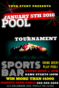 Customizable Design Templates for Pool Tournament Poster ...