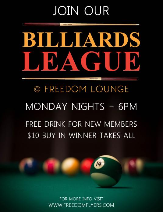 Billiards League Flyer (Letter pang-US) template