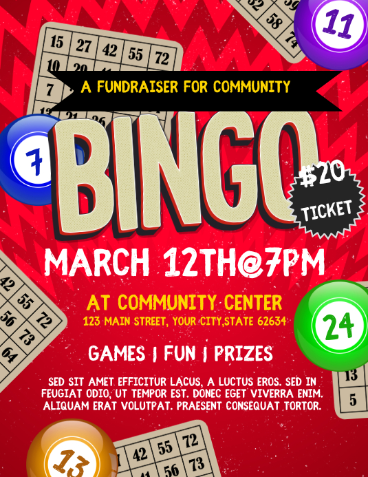 Bingo Flyer Pamflet (VSA Brief) template