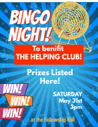 Bingo Night Benefit Event Flyer