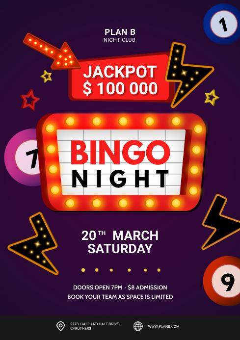Bingo Night Billiards Flyer A4 template