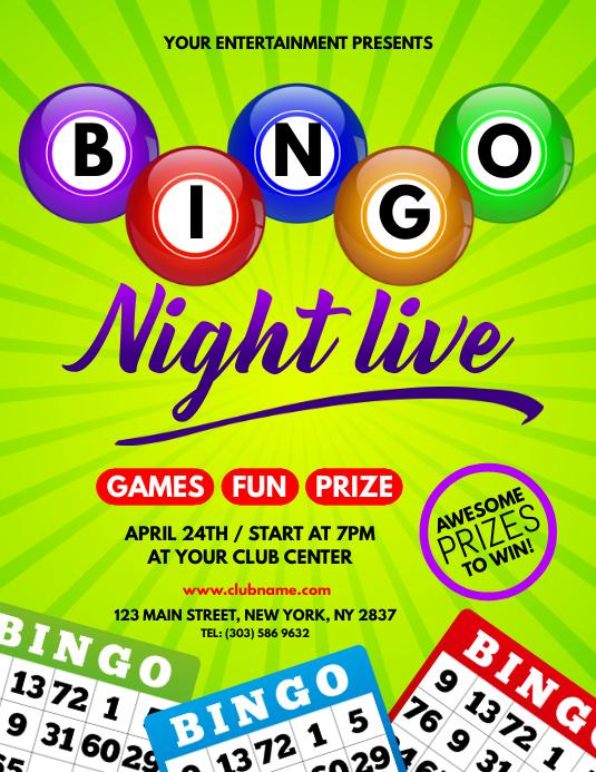 Plantilla de Bingo de Flyer en Vivo de La Noche | PosterMyWall