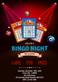 Bingo night party invitation A6 template