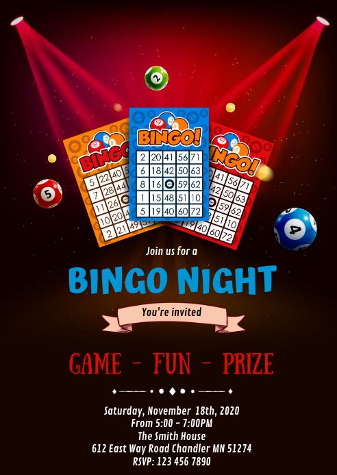 Bingo night party invitation A6 template