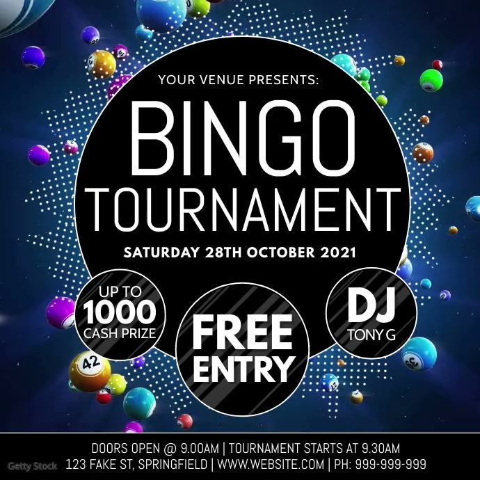 Bingo Tournament Video Poster Instagram Plasing template