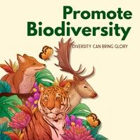 Biodiversity,environment, extinction Pos Instagram template