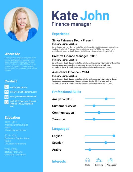 Biography Design Template - CV Resume Flyer (format US Letter)
