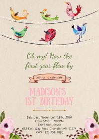 Bird birthday party invitation A6 template