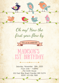 Bird birthday party invitation