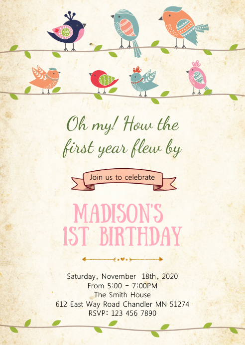Bird birthday party invitation