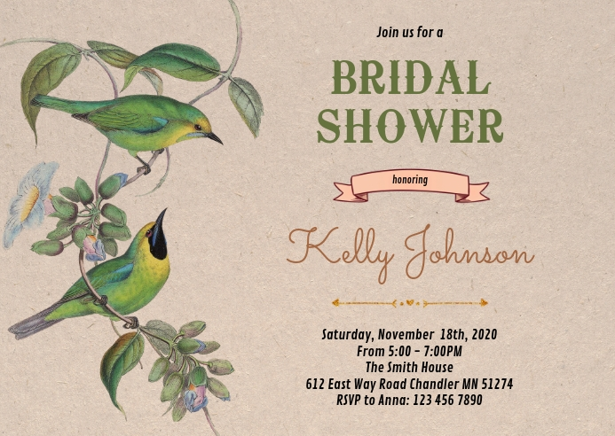 Bird bridal shower party invitation