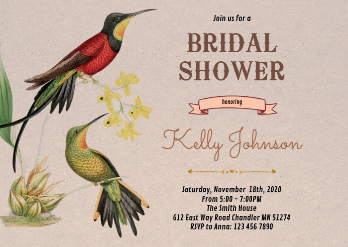 Bird bridal shower party invitation
