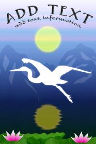 bird -white crane silhouette wilderness - mountains template