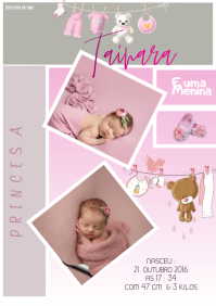 Birth Announcement Template Anuncio de nascim A4