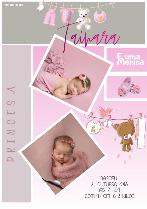 Birth Announcement Template Anuncio de nascim A4