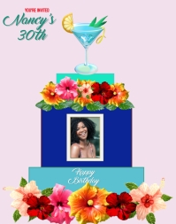 birthday anniversary bridal beach party Poster/Wallboard template