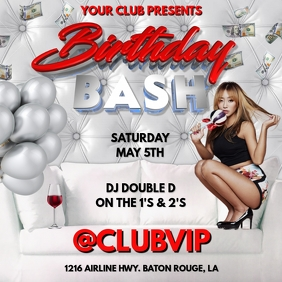 BIRTHDAY BASH ALL WHITE CLUB FLYER TEMPLATE