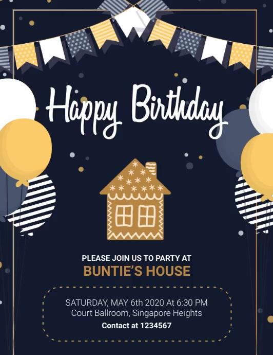 Birthday Bash Illustrated Invitation Slidesho Pamflet (Letter AS) template