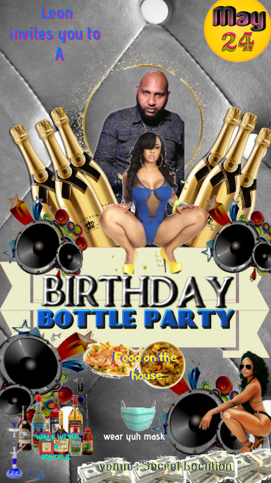 birthday bottle party Estado de WhatsApp template
