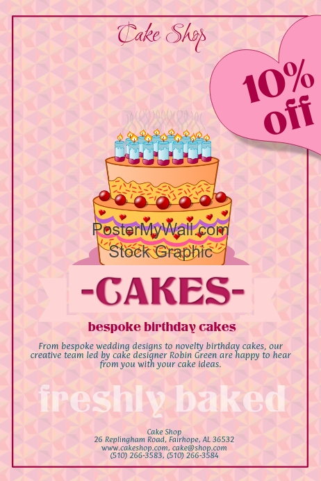 Birthday Cake Template Postermywall