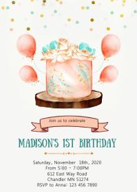 Birthday cake party invitation