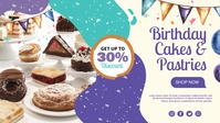 Birthday Cakes & Pastries Facebook Cover Video (16:9) template