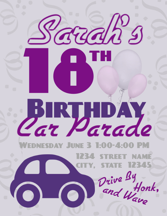 Birthday Car Parade Flyer (US Letter) template