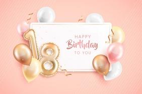 Birthday Card Rótulo template