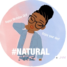 Birthday card Natural Girl