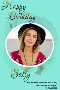 BIRTHDAY CARD WISH Poster template