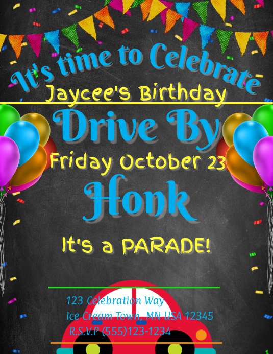 Birthday Chalk Flyer (US Letter) template