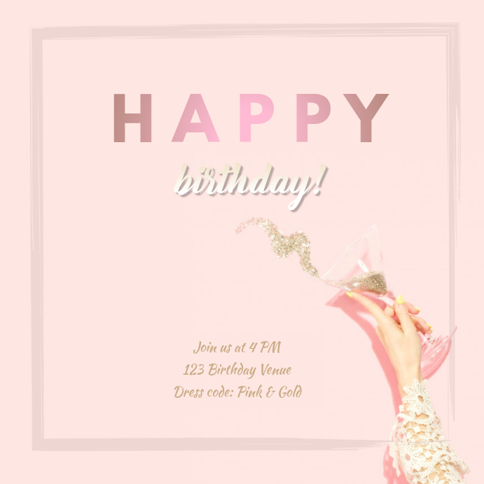 Birthday Champagne Template Postermywall