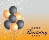 Birthday Design Background with Balloon Großes Rechteck template