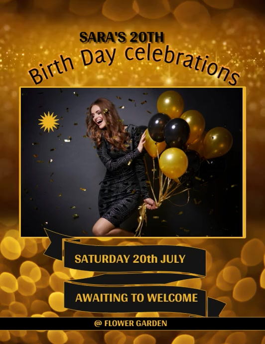 birthday design flyer Volante (Carta US) template