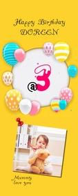 birthday Cartel enrollable de 2 × 5 pulg. template