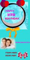 BIRTHDAY Cartel enrollable de 3 × 6 pulg. template