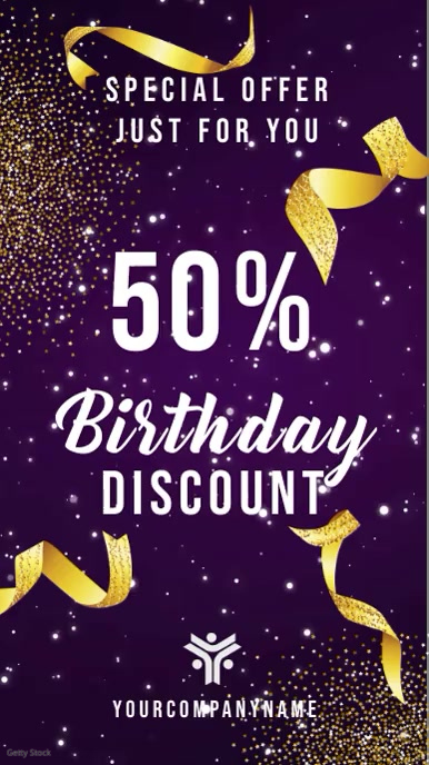 Birthday Discount Retail Digital Display Video Template