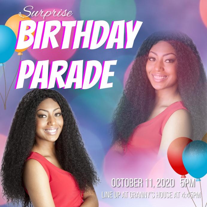 birthday drive thru parade Instagram Post template