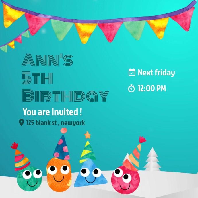 Birthday editable online invitation template