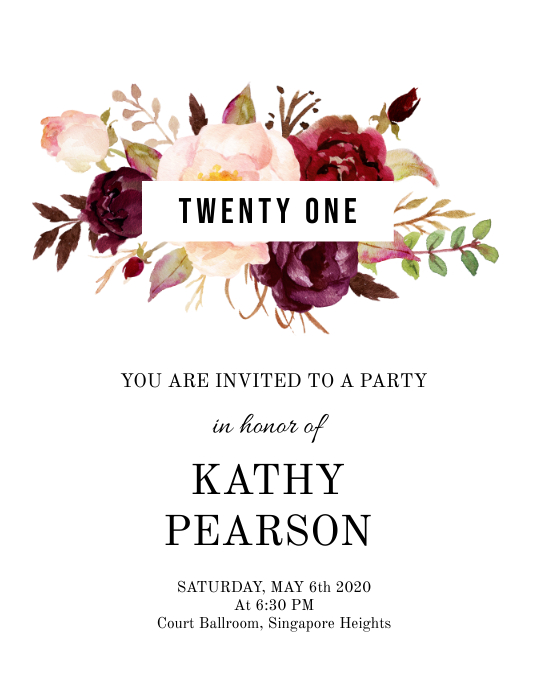 birthday floral minimal invite ใบปลิว (US Letter) template