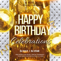 Birthday flyer,disco flyers,party flyers Carré (1:1) template