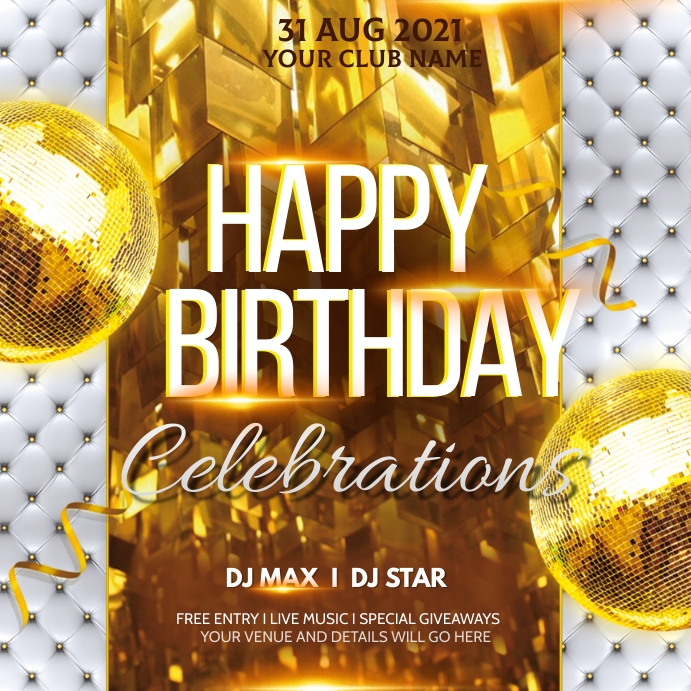 Birthday flyer,disco flyers,party flyers Square (1:1) template
