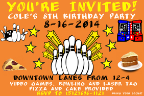 Birthday flyer - Bowling Party