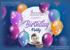 BIRTHDAY FLYER Postkort template