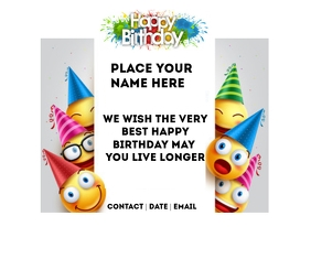 birthday flyer Medium na Rektangle template