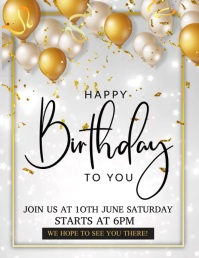 Birthday flyers, party flyers Ulotka (US Letter) template
