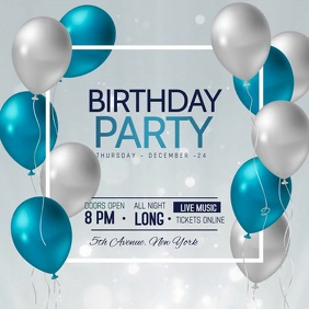 Birthday flyers,party Kwadrat (1:1) template
