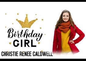 Birthday girl birthday princess card Postcard template