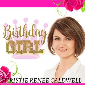Birthday girl birthday queen crown card Instagram Plasing template